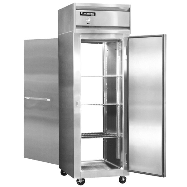 "Continental Refrigerator 1F-PT 26"" Solid Door Pass-Through Freezer - 20 Cu. Ft."