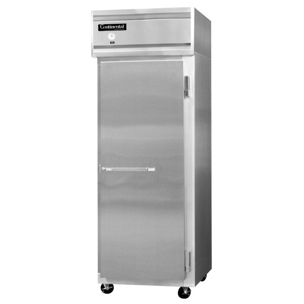 """Continental Refrigerator 1FES-SS 28 1/2"""" Solid Door Extra Wide Shallow Depth Reach-In Freezer - 18 Cu. Ft."""