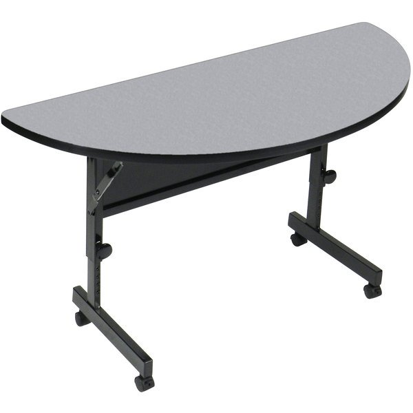 "Correll Deluxe Half Round Flip Top Table, 24"" x 48"" High Pressure Adjustable Height, Gray Granite - FT2448HR-15"