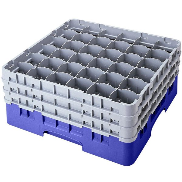 "Cambro 36S1114168 Blue Camrack Customizable 36 Compartment 11 3/4"" Glass Rack"