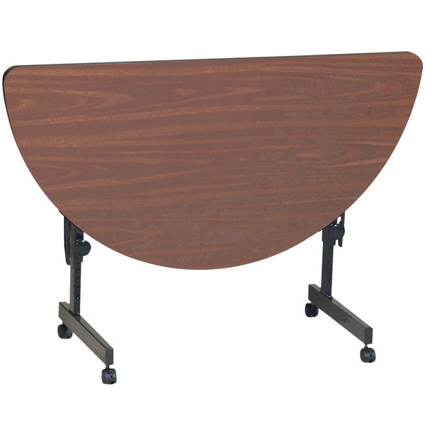 "Correll Deluxe Half Round Flip Top Table, 24"" x 48"" High Pressure Adjustable Height, Walnut - FT2448HR-01"