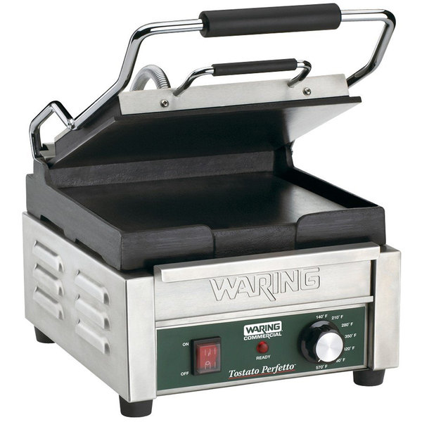 """Waring WFG150 Tostato Perfetto Smooth Top & Bottom Panini Sandwich Grill - 9 3/4"""" x 9 1/4"""" Cooking Surface - 120V, 1800W Main Image 1"""