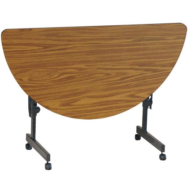 "Correll Deluxe Half Round Flip Top Table, 24"" x 48"" High Pressure Adjustable Height, Medium Oak - FT2448HR-06"