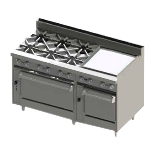 "Blodgett BR-6-24GT-2436-LP Liquid Propane 6 Burner 60"" Thermostatic Range with 24"" Right Side Griddle and Double Oven Base - 288,000 BTU Main Image 1"