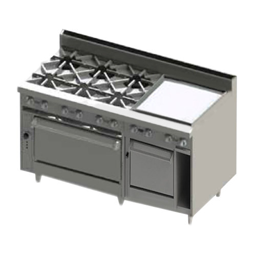 "Blodgett BR-6-24GT-2436C-LP Liquid Propane 6 Burner 60"" Thermostatic Range with 24"" Right Side Griddle, 1 Convection Oven, and 1 Standard Oven - 288,000 BTU"