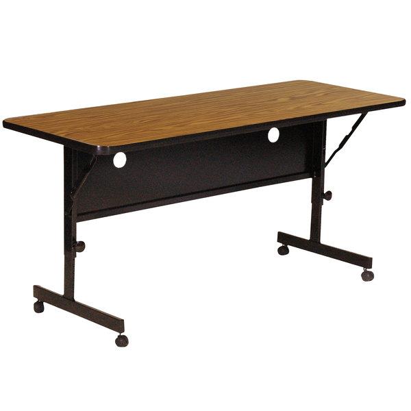 """Correll Deluxe Flip Top Table, 24"""" x 48"""" High Pressure Adjustable Height, Medium Oak - FT2448-06"""