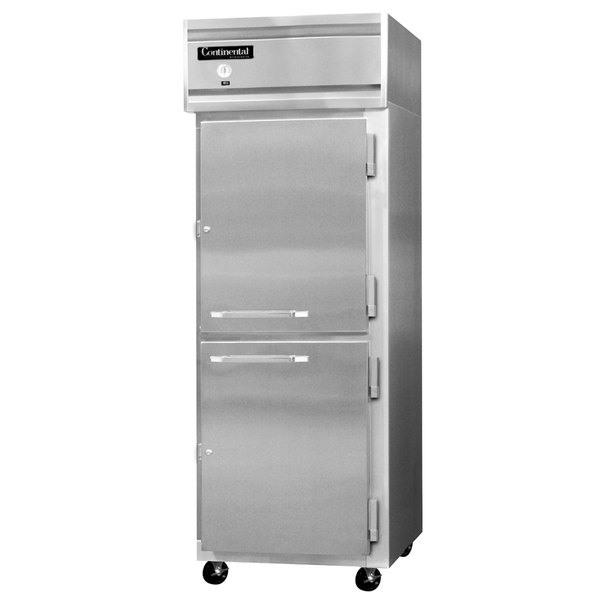 "Continental Refrigerator 1FE-SS-HD 28 1/2"" Half Door Extra Wide Reach-In Freezer - 21 Cu. Ft."