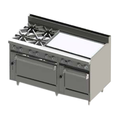"""Blodgett BR-4-36GT-2436-NAT Natural Gas 4 Burner 60"""" Thermostatic Range with 36"""" Right Side Griddle and Double Oven Base - 252,000 BTU"""