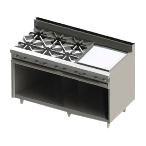 "Blodgett BR-6-24GT-LP Liquid Propane 6 Burner 60"" Thermostatic Range with 24"" Right Side Griddle and Cabinet Base - 228,000 BTU Main Image 1"