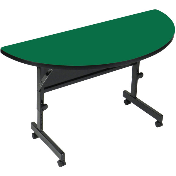 "Correll Deluxe Half Round Flip Top Table, 24"" x 48"" High Pressure Adjustable Height, Green - FT2448HR-39 Main Image 1"