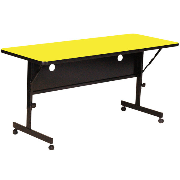 "Correll Deluxe Flip Top Table, High Pressure Adjustable Height, 24"" x 72"", Yellow- FT2472-38"