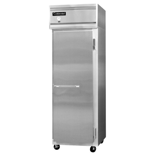 "Continental Refrigerator 1FS-SS 26"" Solid Door Shallow Depth Reach-In Freezer - 16 Cu. Ft."