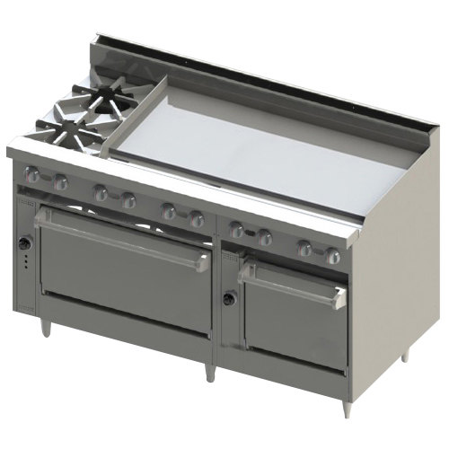 "Blodgett BR-2-48G-2436C-LP Liquid Propane 2 Burner 60"" Manual Range with 48"" Right Side Griddle, 1 Convection Oven, and 1 Standard Oven - 216,000 BTU"