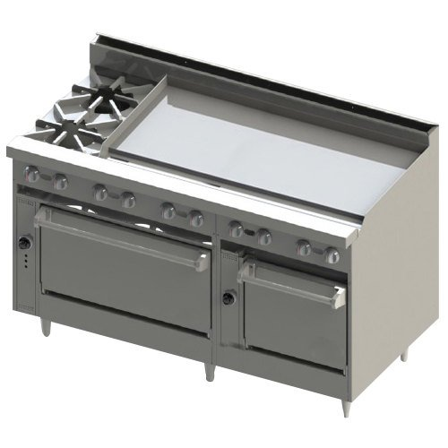 "Blodgett BR-2-48GT-2436-LP Liquid Propane 2 Burner 60"" Thermostatic Range with 48"" Right Side Griddle and Double Oven Base - 216,000 BTU"