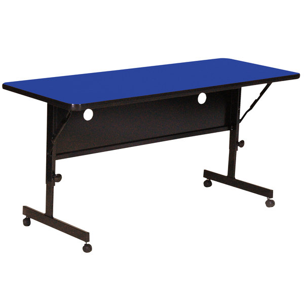 "Correll Deluxe Flip Top Table, High Pressure Adjustable Height, 24"" x 72"", Blue- FT2472-37"