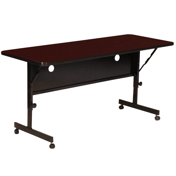 "Correll Deluxe Flip Top Table, High Pressure Adjustable Height, 24"" x 60"", Mahogany- FT2460-20"