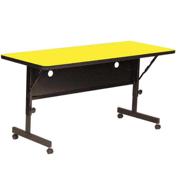 "Correll Deluxe Flip Top Table, 24"" x 60"" High Pressure Adjustable Height, Yellow Granite - FT2460-38"