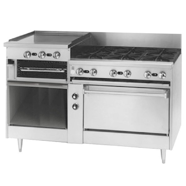 "Blodgett BRB-24G-6-36-LP Liquid Propane 6 Burner 60"" Manual Range with 24"" Left Raised Griddle / Broiler, 1 Standard Oven, and 1 Cabinet Base - 288,000 BTU Main Image 1"