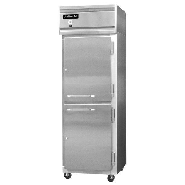 "Continental Refrigerator 1FS-SS-HD 26"" Half Door Shallow Depth Reach-In Freezer - 16 Cu. Ft."