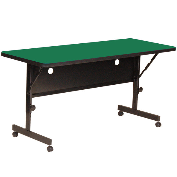 "Correll Deluxe Flip Top Table, High Pressure Adjustable Height, 24"" x 60"", Green- FT2460-39"