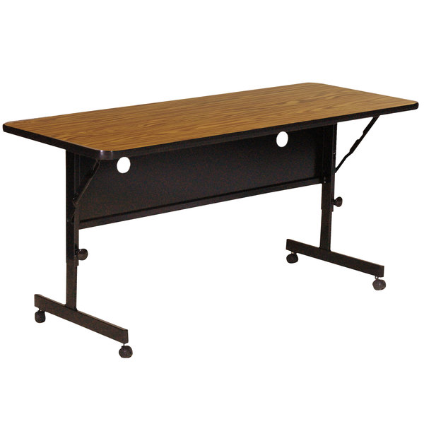"Correll Deluxe Flip Top Table, 24"" x 72"" High Pressure Adjustable Height, Medium Oak - FT2472-06 Main Image 1"