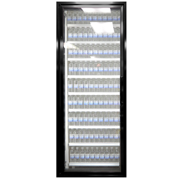 """Styleline CL3080-NT Classic Plus 30"""" x 80"""" Walk-In Cooler Merchandiser Door with Shelving - Satin Black, Left Hinge"""