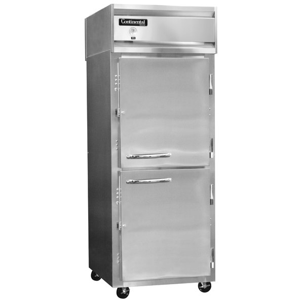 "Continental Refrigerator 1FX-SS-HD 36 1/4"" Half Door Extra Wide Reach-In Freezer - 30 Cu. Ft."