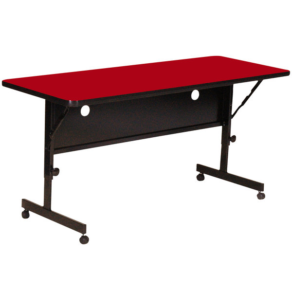 "Correll Deluxe Flip Top Table, High Pressure Adjustable Height, 24"" x 72"", Red- FT2472-35"