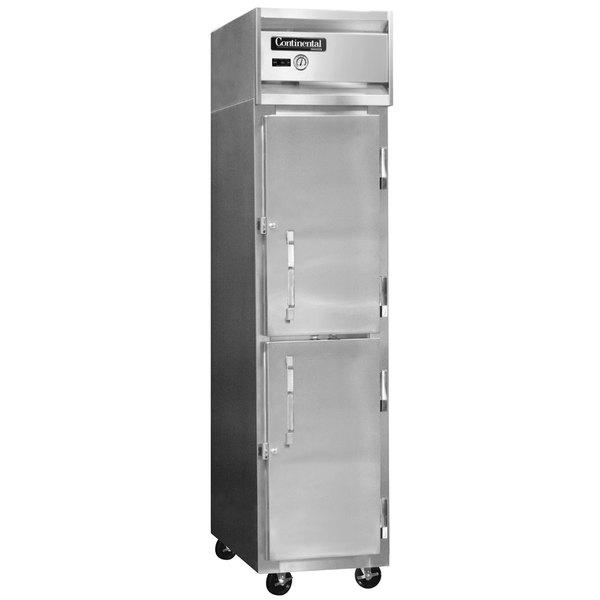 "Continental Refrigerator 1FSES-SS-HD 17 3/4"" Solid Half Door Shallow Depth Slim Line Reach-In Freezer - 12 cu. ft."
