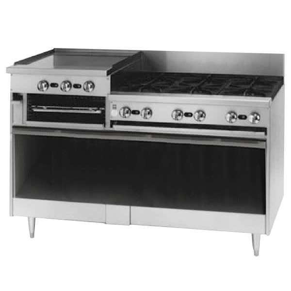 "Blodgett BRB-24G-6-NAT Natural Gas 6 Burner 60"" Manual Range with 24"" Left Raised Griddle / Broiler and Cabinet Base - 258,000 BTU"