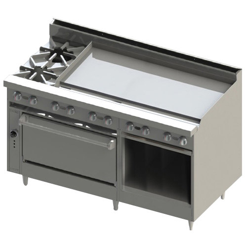 "Blodgett BR-2-48GT-36-LP Liquid Propane 2 Burner 60"" Thermostatic Range with 48"" Right Side Griddle, 1 Standard Oven, and 1 Cabinet Base - 186,000 BTU"