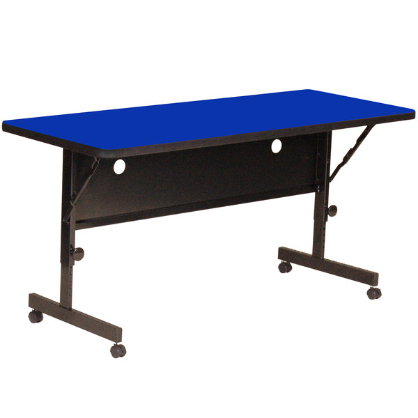 """Correll Deluxe Flip Top Table, High Pressure Adjustable Height, 24"""" x 60"""", Blue- FT2460-37"""