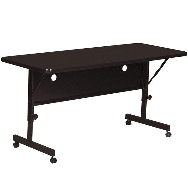 "Correll Deluxe Flip Top Table, 24"" x 60"" High Pressure Adjustable Height, Black Granite - FT2460-07 Main Image 1"