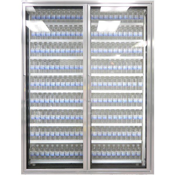 """Styleline CL3080-NT Classic Plus 30"""" x 80"""" Walk-In Cooler Merchandiser Doors with Shelving - Anodized Satin Silver, Right Hinge - 2/Set"""