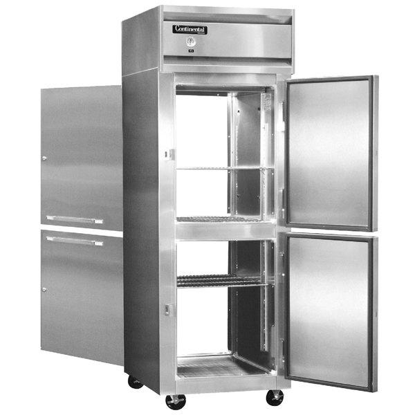 "Continental Refrigerator 1RE-SS-PT-HD 29"" Half Door Extra Wide Pass-Through Refrigerator - 21 Cu. Ft."