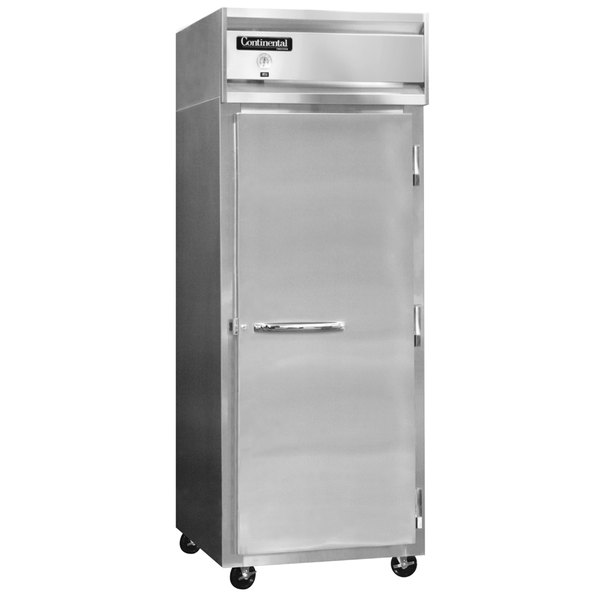"""Continental Refrigerator 1FXS-SS 36 1/4"""" Solid Door Extra Wide Shallow Depth Reach-In Freezer - 26 Cu. Ft."""