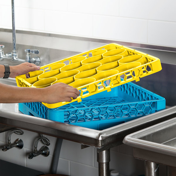 Carlisle REW20SC04 OptiClean NeWave 20 Compartment Yellow Color-Coded Short Glass Rack Extender