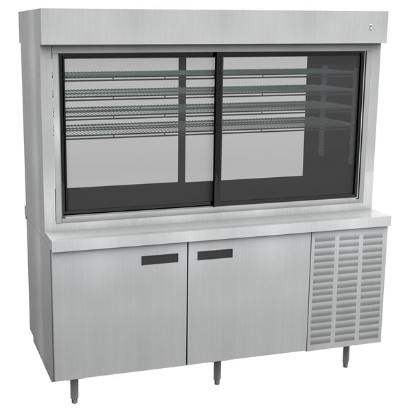 """Delfield F15PC72DV 72"""" Refrigerated Display Case with Storage Base and Pass-Through Back"""