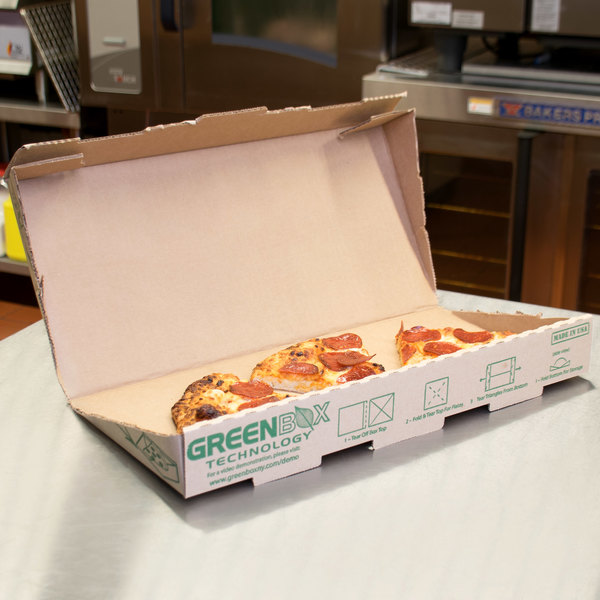"""GreenBox 16"""" x 16"""" x 2"""" Corrugated Pizza Box with Built-In Plates and Storage Container - 50/Case"""