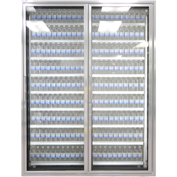 "Styleline CL2472-HH 20//20 Plus 24"" x 72"" Walk-In Cooler Merchandiser Doors with Shelving - Anodized Satin Silver, Right Hinge - 2/Set"