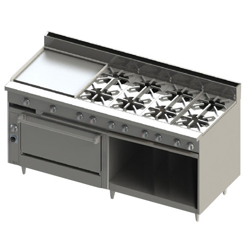 "Blodgett BR-24GT-8-36-LP Liquid Propane 8 Burner 72"" Thermostatic Range with 24"" Left Griddle, 1 Standard Oven, and 1 Cabinet Base - 318,000 BTU"