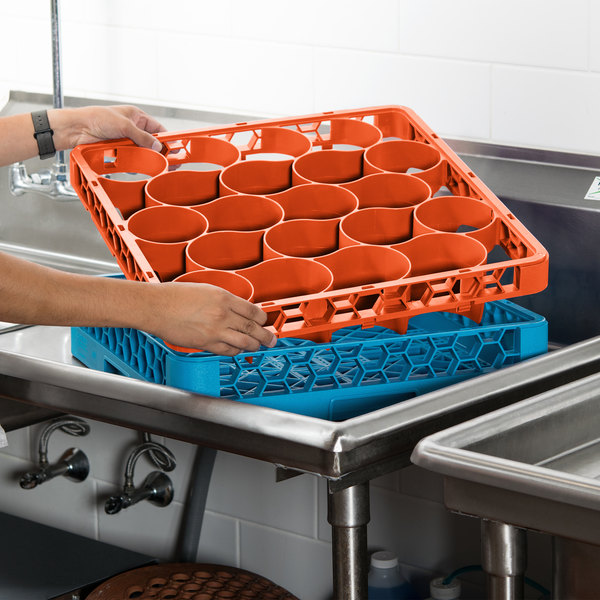 Carlisle REW20LC24 OptiClean NeWave 20 Compartment Orange Color-Coded Long Glass Rack Extender Main Image 8