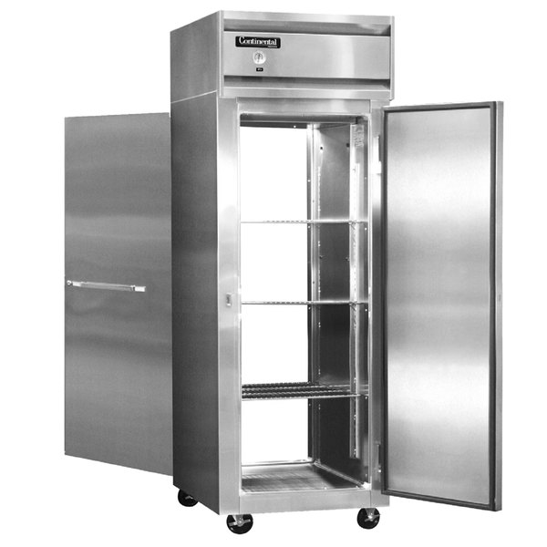 "Continental Refrigerator 1RE-SS-PT 29"" Solid Door Extra Wide Pass-Through Refrigerator - 21 Cu. Ft."