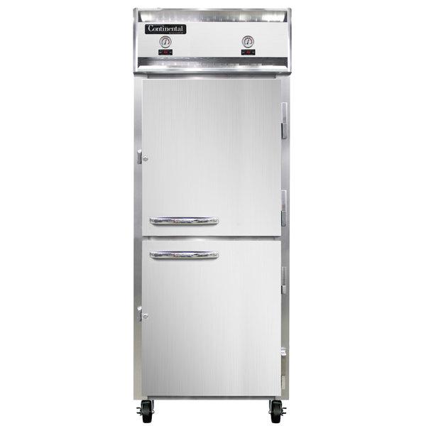 """Continental Refrigerator 1RFE-SA-HD 28 1/2"""" Solid Half Door Dual Temperature Reach-In Refrigerator / Freezer - 22 cu. ft."""