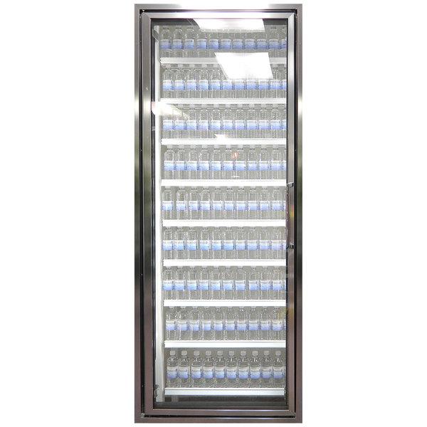 "Styleline CL2472-HH 20//20 Plus 24"" x 72"" Walk-In Cooler Merchandiser Door with Shelving - Anodized Bright Silver, Left Hinge"