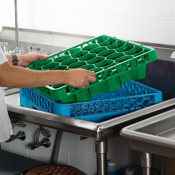Carlisle REW30LC09 OptiClean NeWave 30 Compartment Green Color-Coded Long Glass Rack Extender