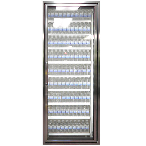"""Styleline CL3080-NT Classic Plus 30"""" x 80"""" Walk-In Cooler Merchandiser Door with Shelving - Anodized Bright Silver, Right Hinge"""