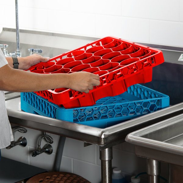 Carlisle REW30LC05 OptiClean NeWave 30 Compartment Red Color-Coded Long Glass Rack Extender
