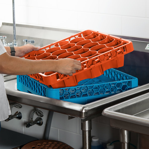 Carlisle REW30LC24 OptiClean NeWave 30 Compartment Orange Color-Coded Long Glass Rack Extender Main Image 8