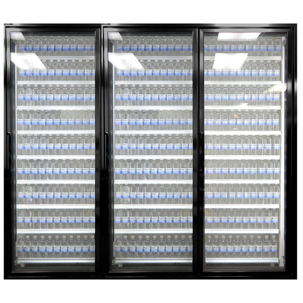 "Styleline CL2472-HH 20//20 Plus 24"" x 72"" Walk-In Cooler Merchandiser Doors with Shelving - Satin Black, Right Hinge - 3/Set"